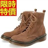 馬丁靴-女鞋磨砂系帶圓頭真皮中筒女靴子3色65d90【巴黎精品】