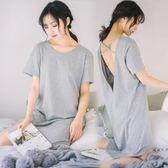 睡裙女夏純棉性感睡衣女夏季短袖連體露背大尺碼純色寬鬆家居服 LH1615【3C環球數位館】
