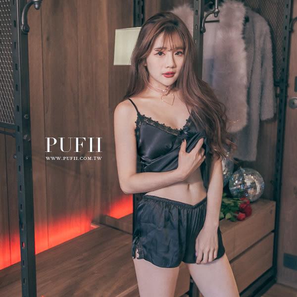 (現貨-藍款/黑款)PUFII睡衣深V加墊蕾絲可調背心短褲兩件式緞面睡衣套裝3色0803現+預夏【CP13169】