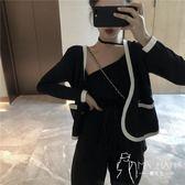 外套  撲啦啦韓風Chic拼色小香風秋季長袖短外套女新款寬松針織開衫褂子