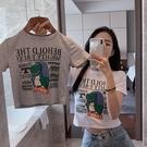 2019夏季新款短款漏肚臍短袖T恤女裝港風印花恐龍修身白色上衣潮  熊熊物語