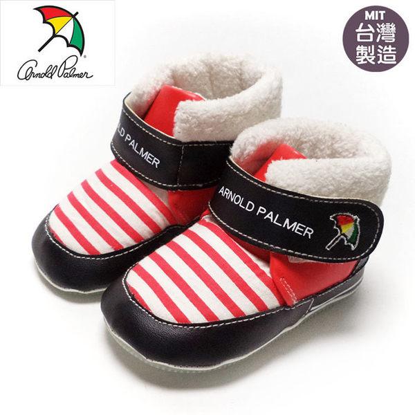 正版ARNOLD PALMER雨傘牌條紋寶寶靴.學步鞋.保暖靴.紅13~16號~EMMA商城