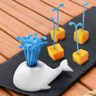 鯨魚水果叉 可愛鯨魚噴水水果叉 鯨魚水果...