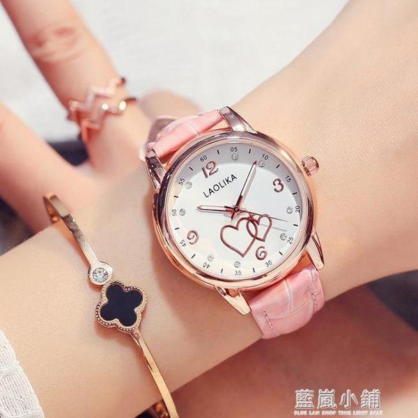 七夕情人節禮物可愛時尚夜光手錶皮帶錶防水女士手錶女高中學生QM 藍嵐
