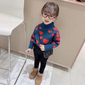女童冬裝2019新款毛衣韓版針織衫兒童洋氣上衣高領加厚保暖毛線衣