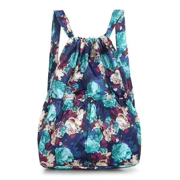後背包大容量防水背包女抽繩束口袋花布包雙肩包買菜購物袋方便袋【全館免運八五折】