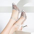 達妋尼包頭涼鞋女細跟新款夏季韓版尖頭高跟鞋中跟真皮女鞋潮/時尚性感尖頭蕾絲 涼鞋