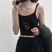 夏季韓版新品百搭修身無袖細肩帶玫瑰花刺繡短款露臍吊帶小背心女