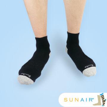 sunair 滅菌除臭襪子-自行車運動薄襪 短筒 (L25~29) (黑+灰) /SA3101