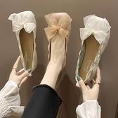 豆豆鞋 方頭平底單鞋女春夏百搭仙女風豆豆鞋淺口絲帶學生蛋卷鞋-Ballet朵朵