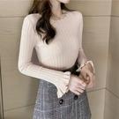 毛衣襯衫上衣 女士針織衫新款韓版修身內搭長袖打底衫女秋冬時尚緊身上衣潮