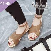 大尺碼女鞋-凱莉密碼-時尚潮流款瑪莉珍交叉款平底羅馬涼鞋1cm(41-48)【XL3-5】駝色