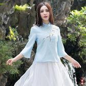 民族風女復古中式領口設計五分袖優質紗體恤上衣【中秋好康推薦】