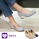 韓系甜美浪漫素面亮片圓頭楔形高跟鞋/3色...