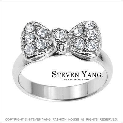 戒指 正白K飾 公主系列「迷你蝴蝶結」晶鑽鋯石