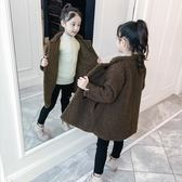 【新年鉅惠】 女童外套冬裝2019新款韓版洋氣中大童中長款大衣加厚兒童毛毛衣潮