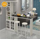 客廳吧台桌家用隔斷櫃酒櫃現代簡約玄關櫃歐式鋼化玻璃旋轉小吧台QM 依凡卡時尚