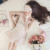 家居服  韓版學生睡衣女短袖吊帶睡裙中裙純棉冰絲清新 伊鞋本鋪