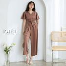 PUFII-連身褲 交叉V領後拉鏈連身長寬褲(附綁帶)-0409 現+預 春【CP18287】