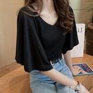 蝙蝠袖上衣 夏季大碼寬鬆設計感蝙蝠袖短袖t恤女胖mm圓領上衣純色百搭打底衫 阿薩布魯