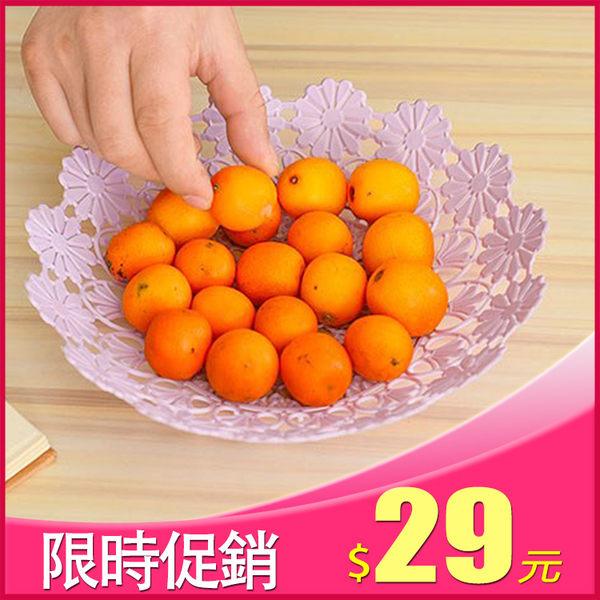 晶輝居家-(AA053)時尚鏤空水果糖果塑膠料水果藍歐式糖果盒子點心盤 粉紅色