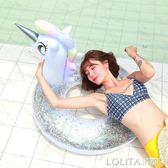 火烈鳥游泳圈 成人加厚充氣水上坐騎 可愛獨角獸網紅愛心加大女 LOLITA