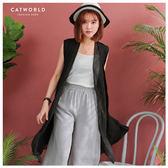 Catworld 正韓空運*開襟垂領雙層雪紡外套【15003498】‧F