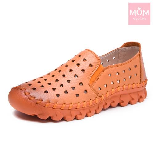 全真皮愛心洞洞超厚軟底手工頭層牛皮舒適樂福鞋 橘 *MOM*