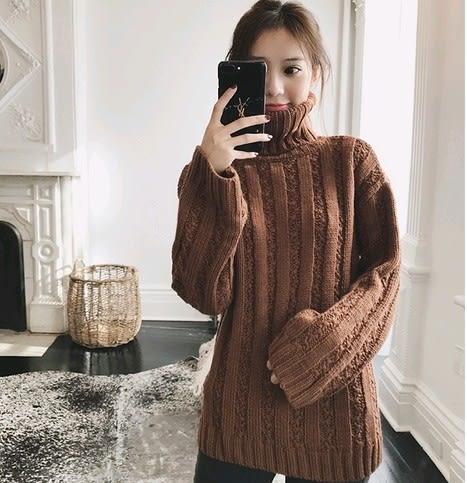 EASON SHOP(GU4516)高領毛衣圓領寬袖子長袖針織衫喇叭袖女上衣服素色韓版側開衩麻花毛線衣大碼寬鬆