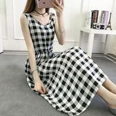 無袖洋裝  2抽繩顯瘦無袖印花棉綢連身裙人棉背心裙長裙子