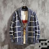 針織衫男開衫外套格子毛衣外穿秋冬季休閒厚款線衣【左岸男裝】