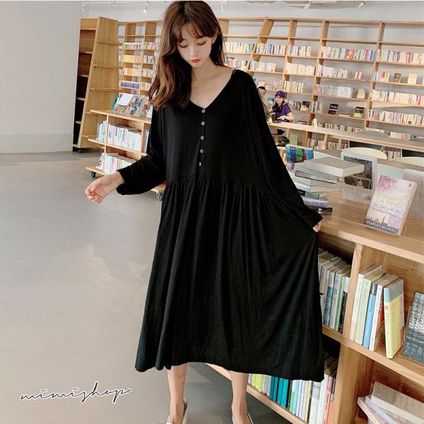 孕婦裝 MIMI別走【P52972】寬版加大 莫代尔長袖洋裝 孕婦裙 睡裙 內搭裙