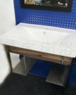【麗室衛浴】 國產 陶瓷臉盆 含白鐵造型浴櫃