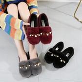 韓版加絨保暖毛毛鞋女鞋秋冬新款女棉鞋豆豆鞋套腳軟底平跟棉瓢鞋 韓國時尚週