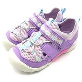 《7+1童鞋》中童 日本 MOONSTAR 月星  護趾 透氣 魔鬼氈 機能涼鞋  C479  紫色