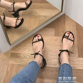 韓國綁帶粗跟中跟羅馬低跟夾趾百搭涼鞋露趾簡約交叉綁帶高跟鞋女 可可鞋櫃
