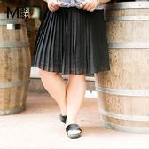 Miss38-(現貨)【A05119】飄逸雙色百褶裙 韓版氣質百搭 雪紡鬆緊腰 A字 大碼短裙-中大尺碼