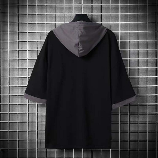 連帽T恤 春夏季短袖T恤男士韓版寬鬆潮流半袖打底衫連帽衛衣ins潮牌上衣服 歐歐