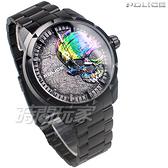 POLICE 義大利精品 個性潮流 炫彩 骷髏頭 男錶 不銹鋼 防水 手錶 IP黑電鍍 15715JSB-78M