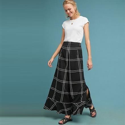 【南紡購物中心】《D Fina 時尚女裝》荷葉邊設計 寬鬆褲口大格紋拼接顯瘦高腰寬褲