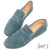 Ann'S韓系素面Q彈超柔軟全真皮天堂懶人平底鞋-灰藍