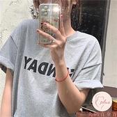 休閒短袖上衣女百搭顯瘦字母印花寬松短袖T恤【大碼百分百】
