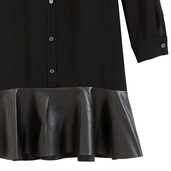 【MASTINA】皮革拼接洋裝-黑 0612