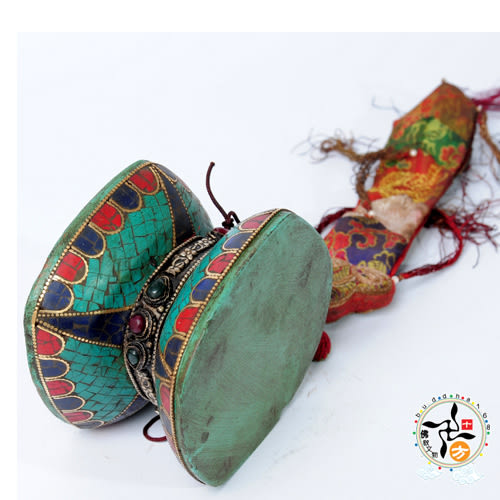 手鼓 蓮花 鑲綠松石 +十相自在貼紙【十方佛教文物】