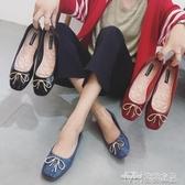 春季韓版內增高漆皮方頭淺口時尚百搭蝴蝶結舒適平底單鞋女 雙十二特惠