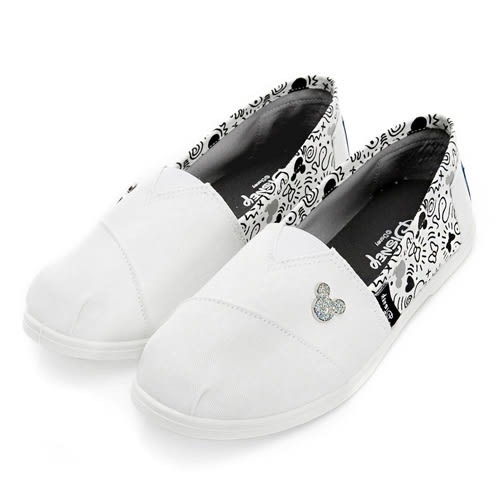 Disney 美式塗鴉 米奇亮蔥飾釦懶人鞋-白