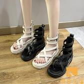 涼鞋女夏季松糕厚底高幫鏤空羅馬夾腳涼靴【慢客生活】