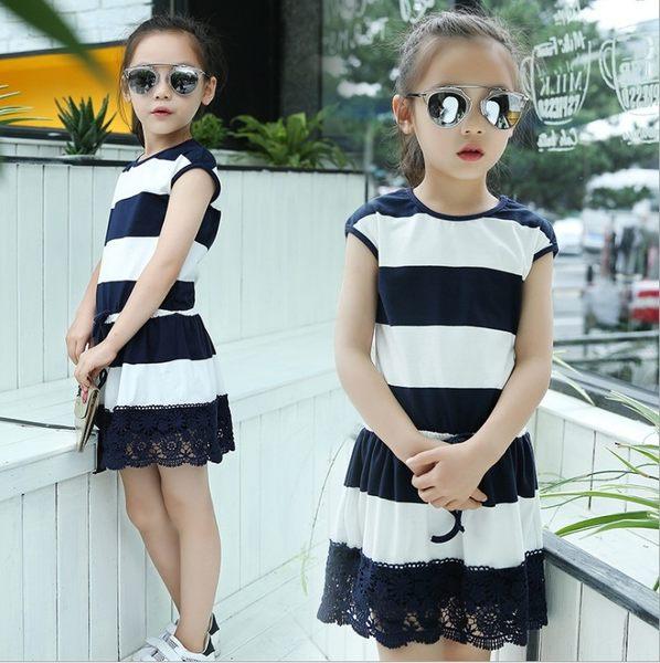 衣童趣♥中大女童 短袖 條紋撞色 下擺蕾絲 休閒連身裙 韓版 圓領氣質 收腰繩 甜美款