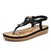 黑色/36 羅馬涼鞋 夾腳涼鞋 夏季新款涼鞋女 波西米亞坡跟舒適女涼鞋韓版女鞋子C0641