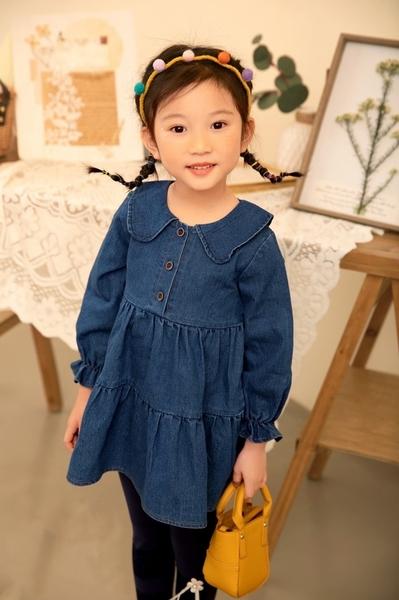 純棉 翻領縮手袖牛仔裙 質感木扣 蛋糕裙擺 女童洋裝 童裝 長袖洋裝